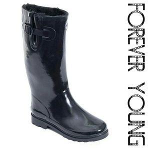 Women faux fur lined tall rain/snow boot